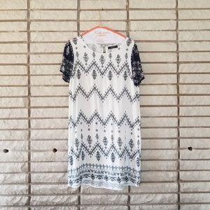 VILA Blue and white Shirt dress/tunic M
